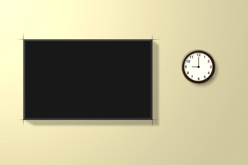 tv and clock at night